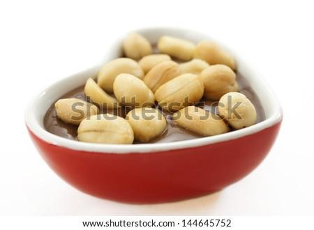 Romantic chocolate peanuts. - stock photo