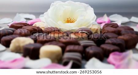 Romantic chocolate truffles and white roses heart shape setup horizontal - stock photo