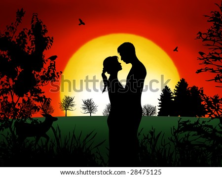Romantic couple at in the evening with nice sunset - stock photo