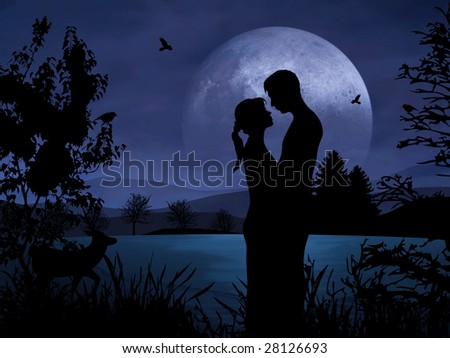 Romantic couple at night with nice moonshine - stock photo