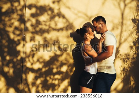 Beautiful couple walking green park stock photo 473747692 for Tropical vacations for couples