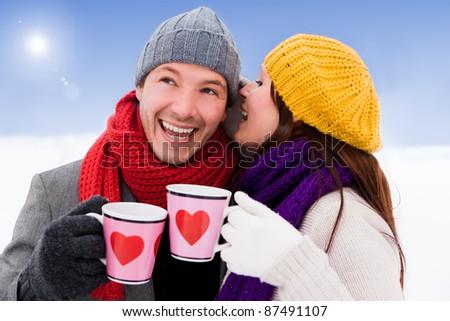 romantic couple enjoying tea - stock photo