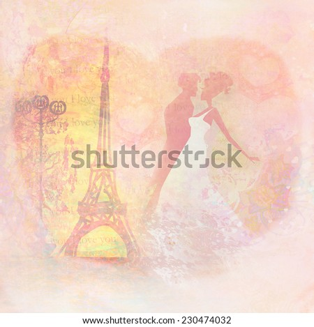 Romantic couple in Paris kissing near the Eiffel Tower, Retro card  - stock photo
