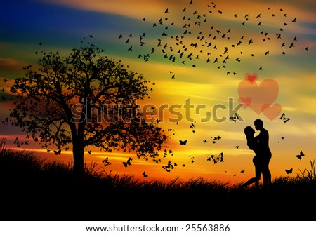 romantic couple in the sunset