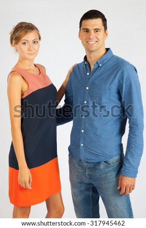 Romantic couple, man and woman, with big smiles of happiness - stock photo