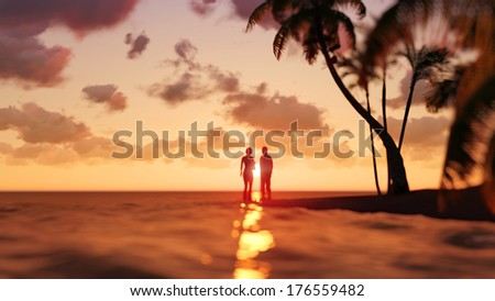 romantic couple on the tropical beach - stock photo