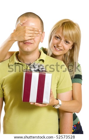 Romantic couple with gifts in box in valentine day