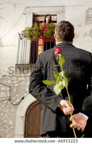 Romantic couple with roses