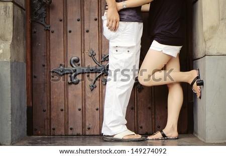 romantic couples - legs - stock photo