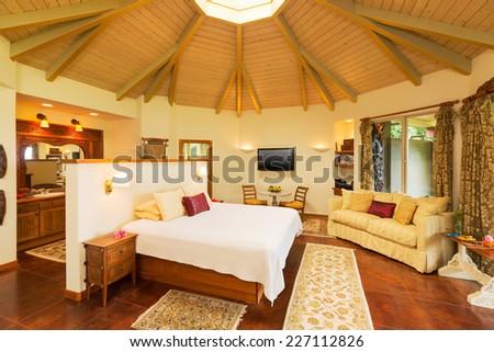 Romantic Cozy Bedroom with Hardwood Floors. Home Interior Design - stock photo