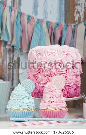 Romantic cupcakes and party cake - stock photo