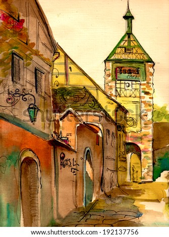 Romantic Czech tower and street view watercolor landscape illustration postcard poster textile print