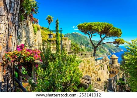Romantic decoration flowers and ornamental garden,Villa Rufolo,Ravello,Amalfi coast,Italy,Europe - stock photo