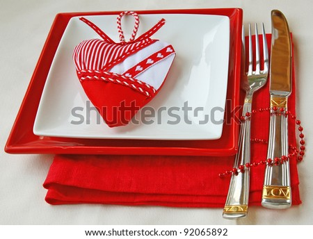Romantic decoration of festive table - stock photo