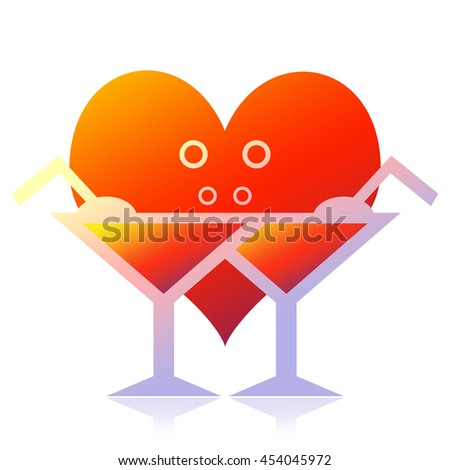 Romantic dinner, exotic cocktails and love heart isolated on white background - stock photo