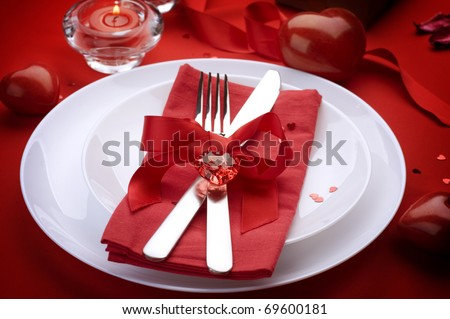 Romantic Dinner.Place setting for Valentine's Day - stock photo