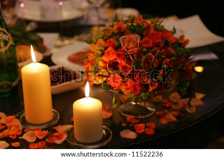 Romantic dinner table settings with flowers and candles. & Romantic Dinner Table Settings Flowers Candles Stock Photo (Royalty ...