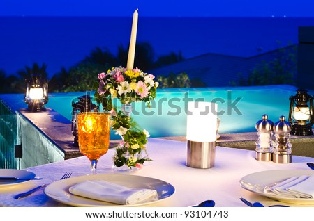 romantic dinner with jaccuzi - stock photo