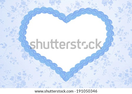 romantic floral design with blue heart and copy space, vintage background - stock photo