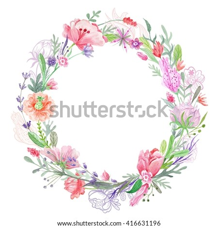 Romantic Floral Wreath Frame   Creative summer round border with wild red, pink and purple flowers for card design, wedding invitations - stock photo