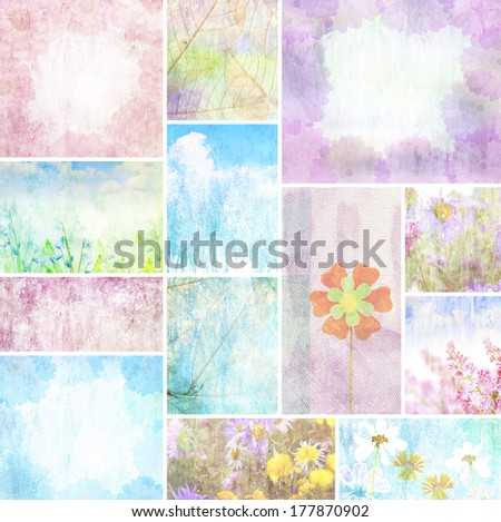 romantic flower Grunge background vintage abstract rusty colored background - stock photo