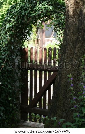 romantic gardendor - stock photo