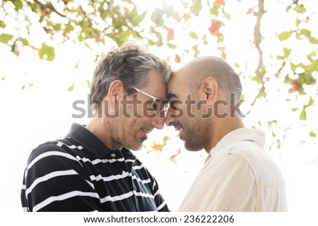Romantic gay couple on vacation