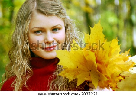 romantic girl and yellow leaves