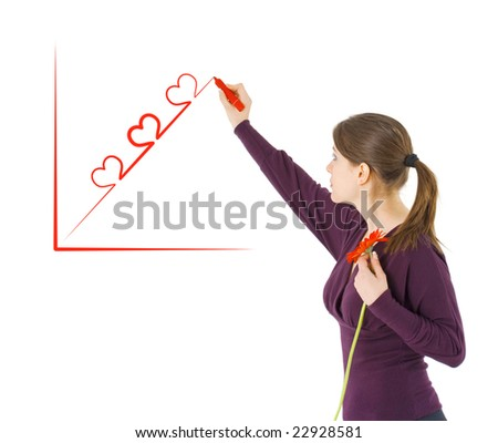 romantic girl drawing Valentine frame - stock photo
