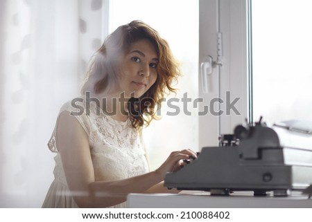 romantic girl is typing