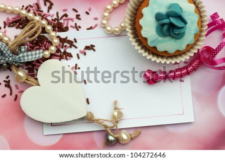 romantic heart and cupcake card design wallpaper background - stock photo