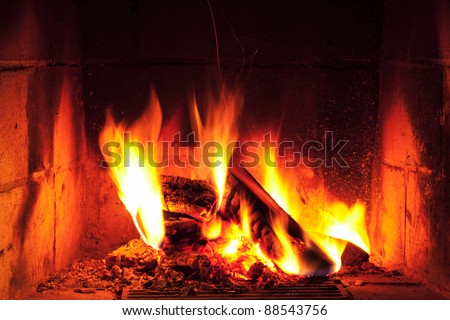 romantic home fire - stock photo