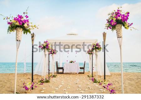 Romantic honeymoon dining place on the beach. Samui island, Thailand. - stock photo