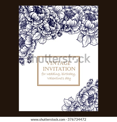 Romantic invitation. Wedding, marriage, bridal, birthday, Valentine's day.  - stock photo