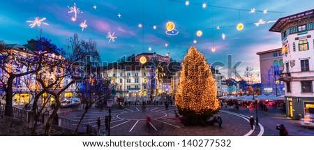 Romantic Ljubljana's city center  decorated for Christmas holiday. Preseren's square, Ljubljana, Slovenia, Europe. - stock photo