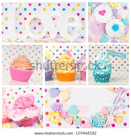 Romantic Love cupcake candy Collage with dots - stock photo