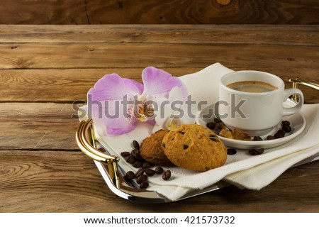 Romantic morning coffee with orchid. Coffee cup. Strong coffee. Coffee mug. Cup of coffee.Morning coffee. Coffee break.  - stock photo