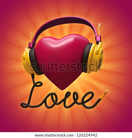 Romantic musical concept. 3d red Valentine heart with headphones. - stock photo