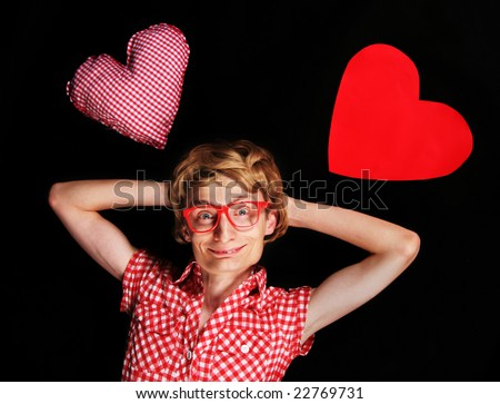 Romantic nerd playing cool - stock photo