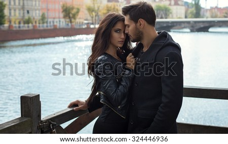 Romantic photo of hugging couple  - stock photo