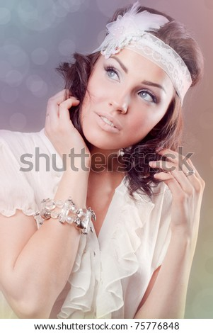 Romantic picture of a beautiful young woman - stock photo