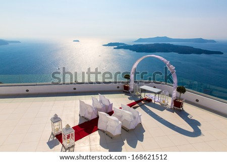 Romantic place for wedding ceremony in Santorini island,Crete,Greece, Fira town - stock photo