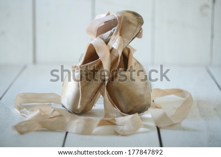 Romantic Posed Pointe Shoes in Natural Light  - stock photo