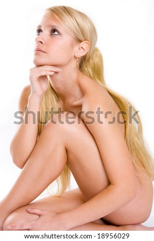 Romantic pretty naked woman. isolated over white attractive