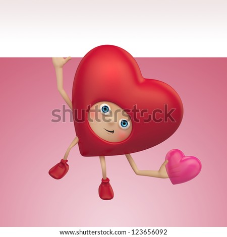 romantic red heart cartoon. Valentine's day greeting. Three dimensional character render