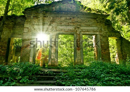 romantic ruin - stock photo