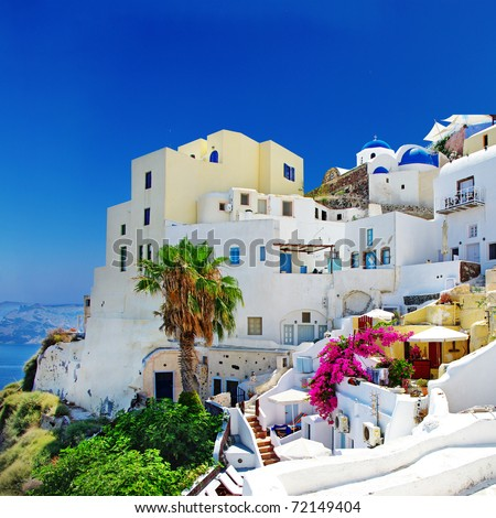 romantic Santorini ,Oia town, Greek island series - stock photo