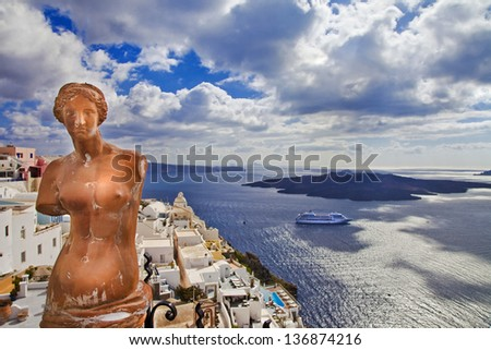 romantic Santorini - view with Venus and volcano