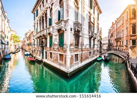 Romantic scene in Venice, Italy - stock photo
