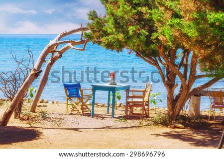 Romantic scene on Dafni beach, Zakynthos island, Greece - stock photo